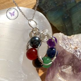 Chakra Circle Silver Wire Wrapped Pendant with Chain